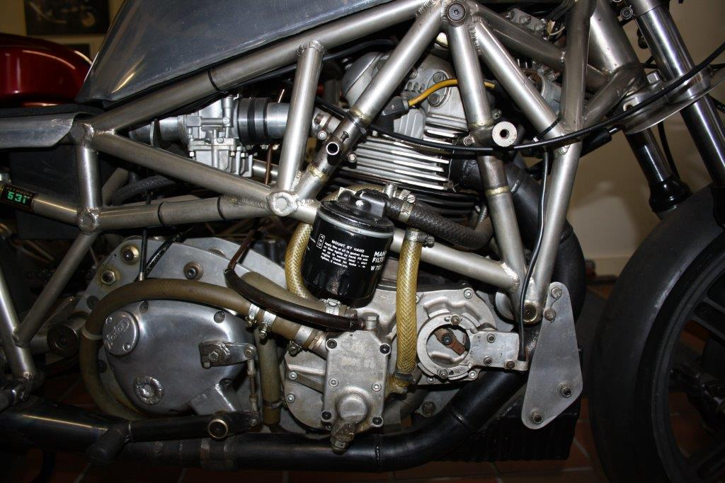 Norton fabrieksracer spaceframe 1974 (detail)